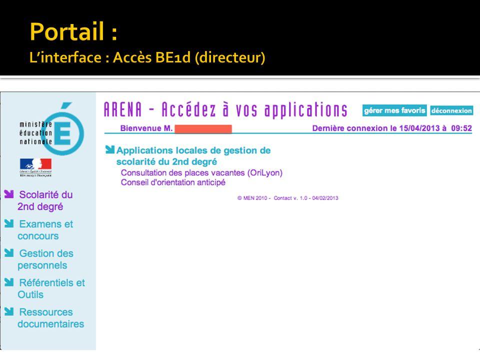 Portail : L'interface : Accès BE1d (directeur)