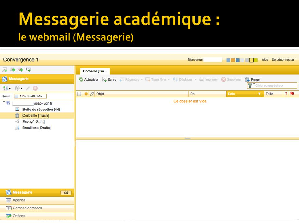 Messagerie académique : le webmail (Messagerie)