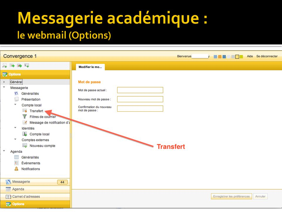 Messagerie académique : le webmail (Options)