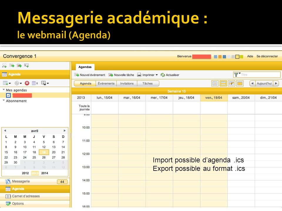 Messagerie académique : le webmail (Agenda)
