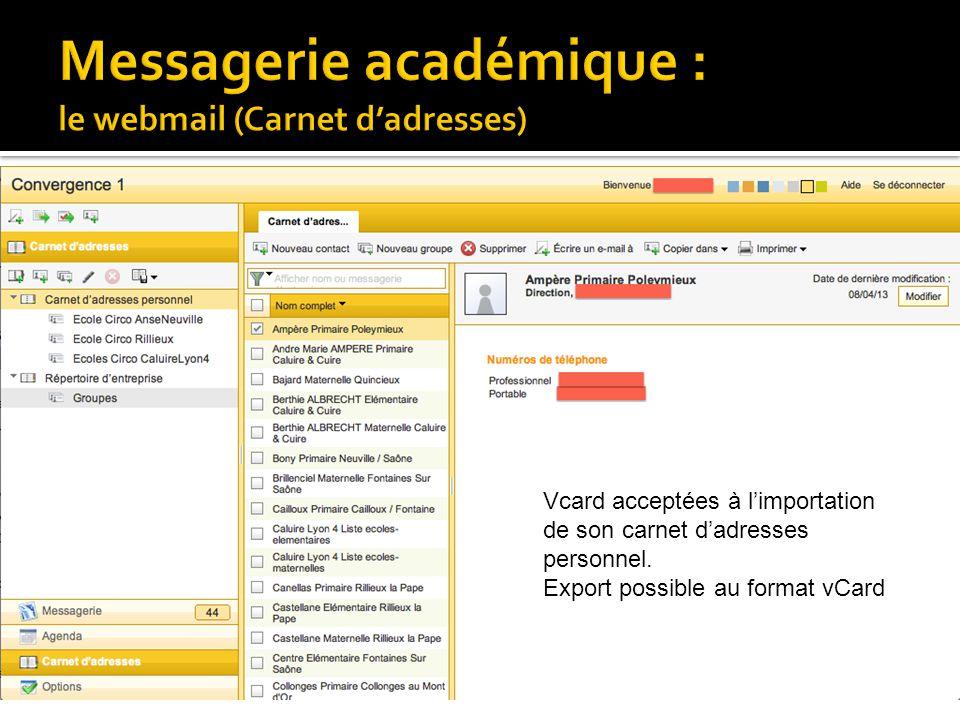 Messagerie académique : le webmail (Carnet d'adresses)