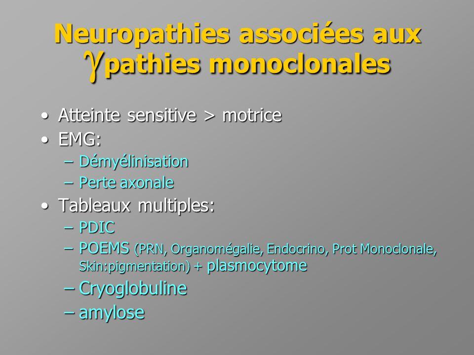 Neuropathies associées aux pathies monoclonales