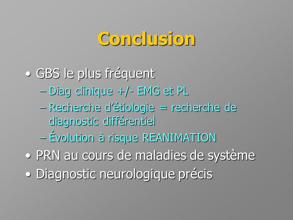 Conclusion GBS le plus fréquent PRN au cours de maladies de système