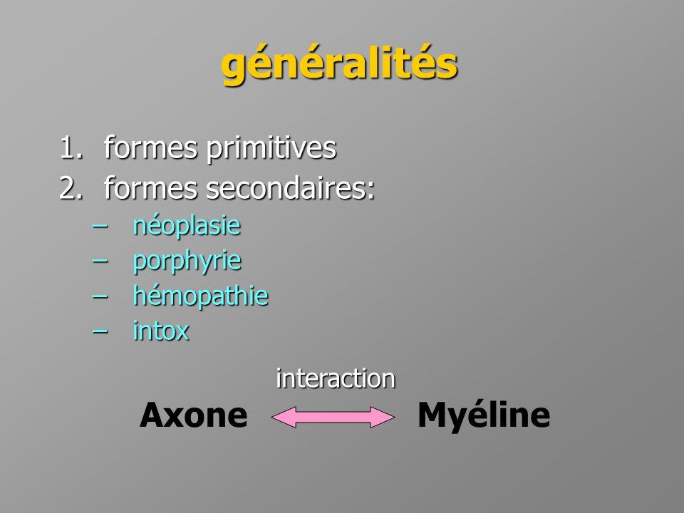 généralités Axone Myéline formes primitives formes secondaires: