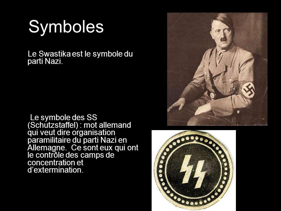 Symboles Le Swastika est le symbole du parti Nazi.