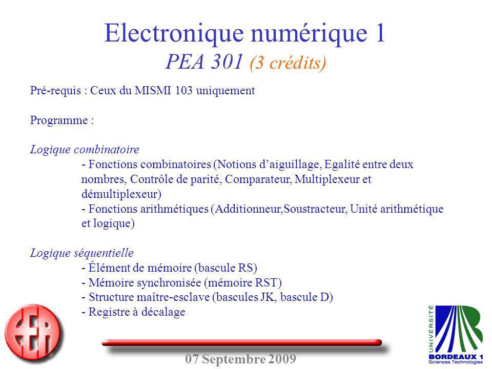 Electronique numérique 1 PEA 301 (3 crédits)