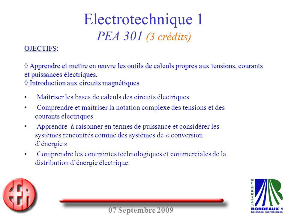 Electrotechnique 1 PEA 301 (3 crédits)