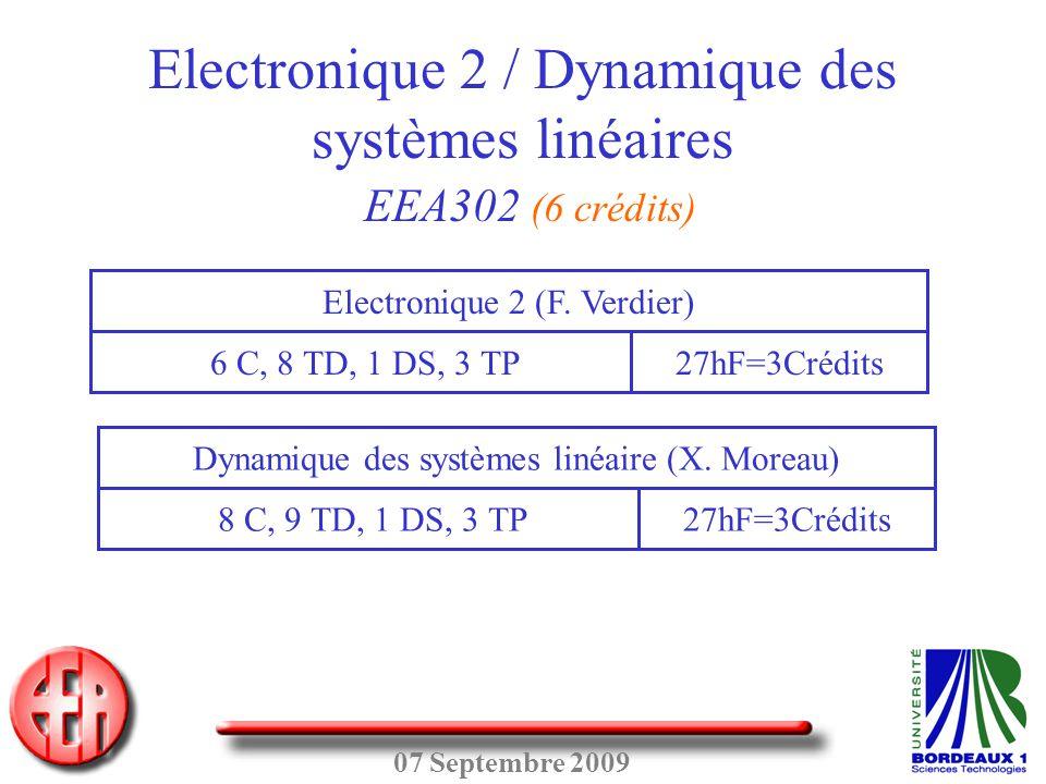 Electronique 2 / Dynamique des systèmes linéaires EEA302 (6 crédits)