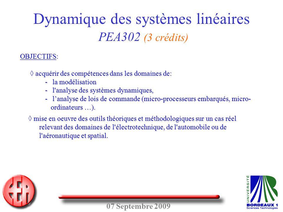 Dynamique des systèmes linéaires PEA302 (3 crédits)