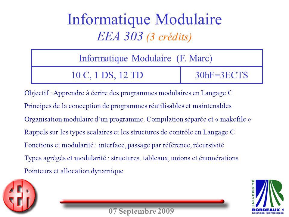 Informatique Modulaire EEA 303 (3 crédits)
