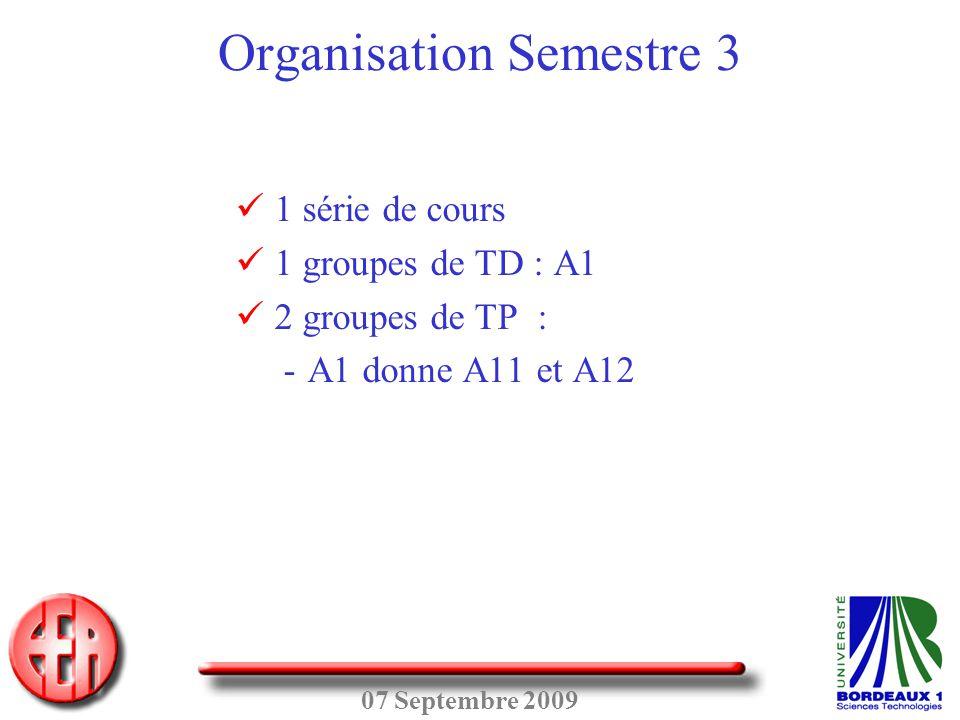 Organisation Semestre 3