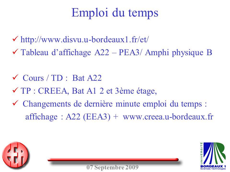 Emploi du temps http://www.disvu.u-bordeaux1.fr/et/