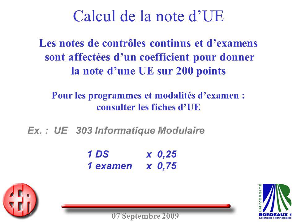 Calcul de la note d'UE Les notes de contrôles continus et d'examens