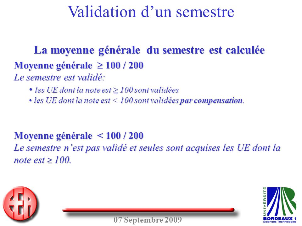 Validation d'un semestre