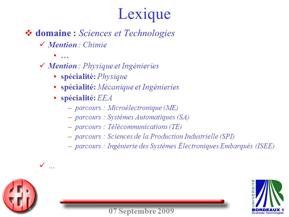 Lexique domaine : Sciences et Technologies Mention : Chimie …