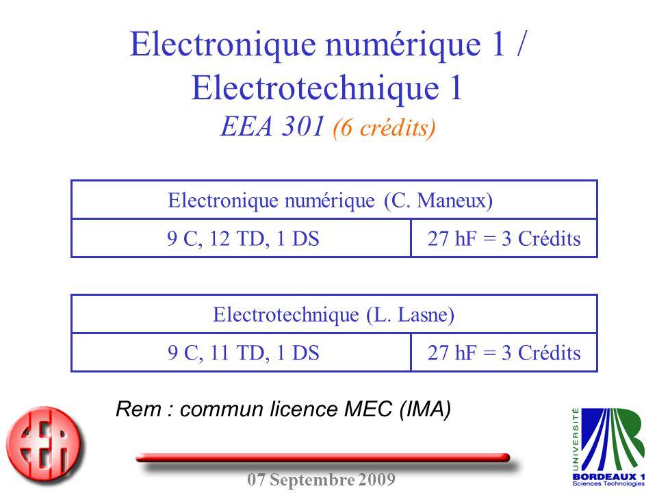 Electronique numérique 1 / Electrotechnique 1 EEA 301 (6 crédits)