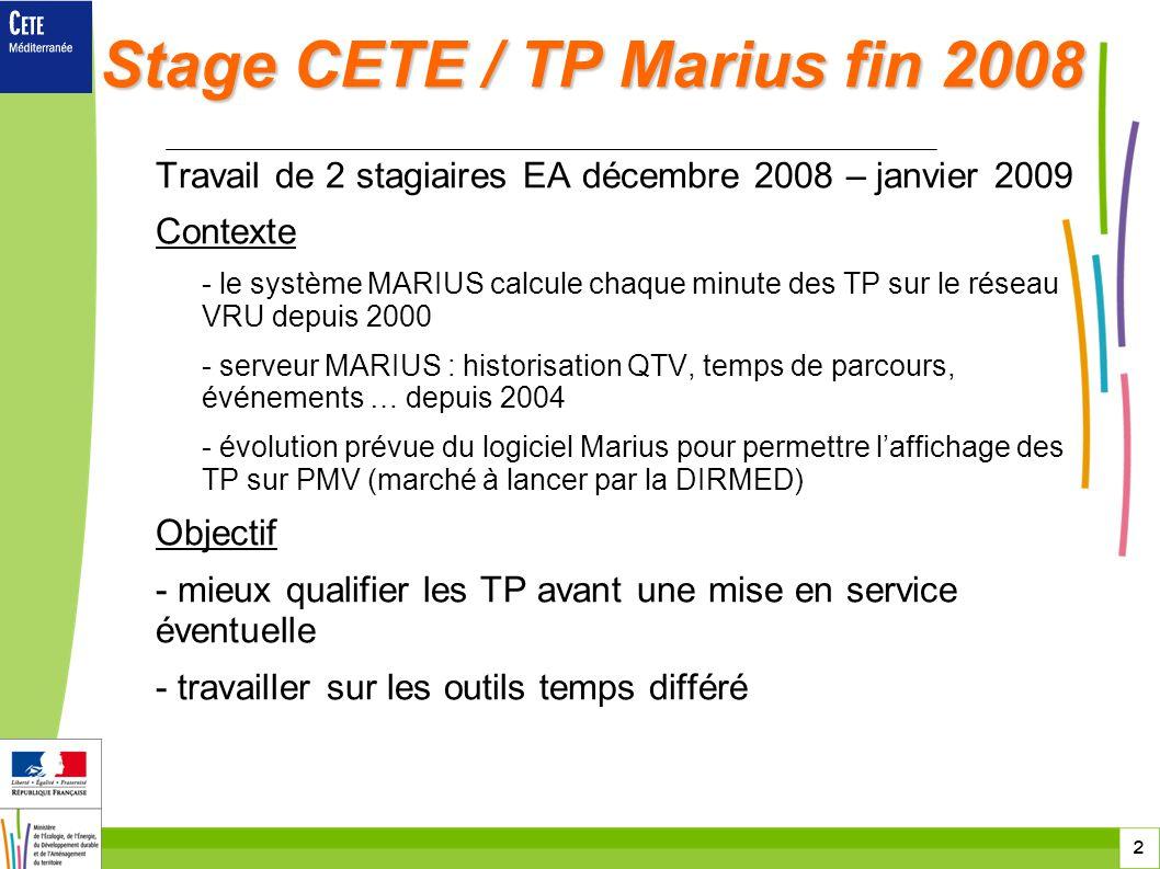 Stage CETE / TP Marius fin 2008