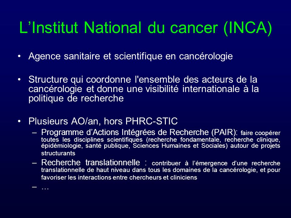 L'Institut National du cancer (INCA)