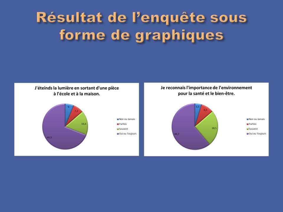 Résultat de l'enquête sous forme de graphiques