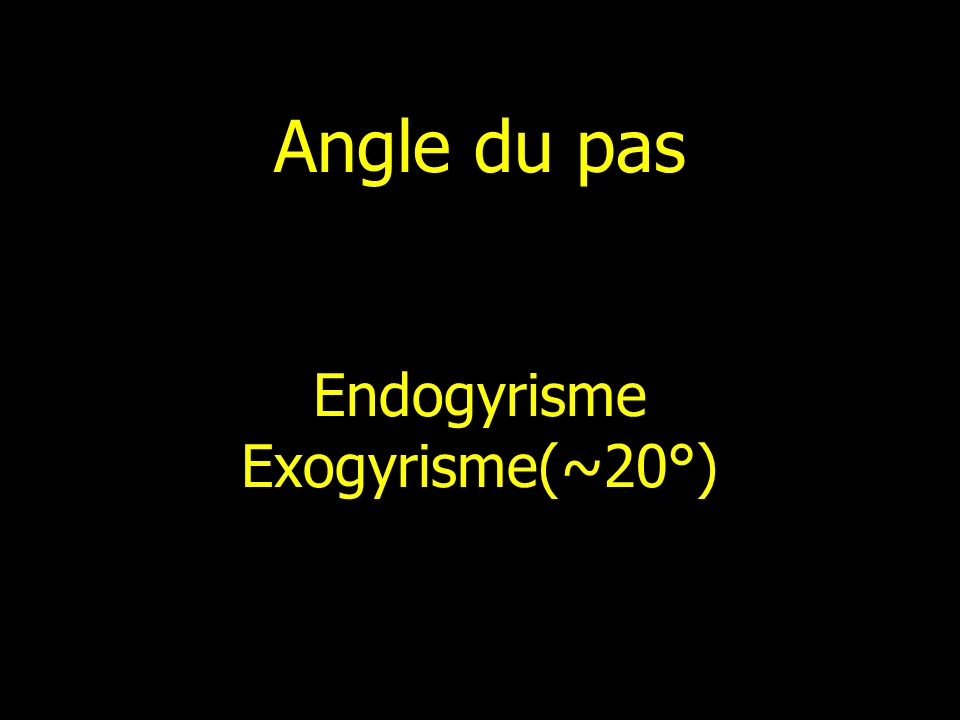 Angle du pas Endogyrisme Exogyrisme(~20°)