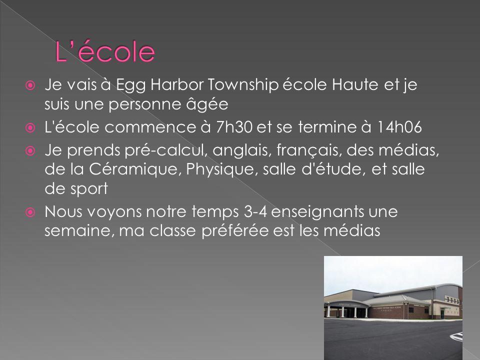 L'école Je vais à Egg Harbor Township école Haute et je suis une personne âgée. L école commence à 7h30 et se termine à 14h06.