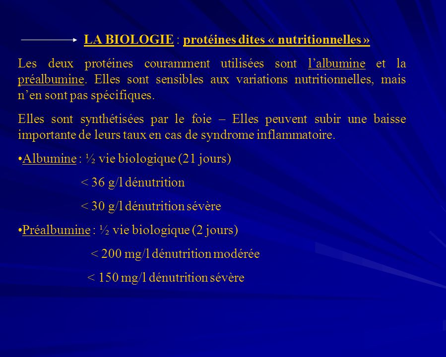 LA BIOLOGIE : protéines dites « nutritionnelles »