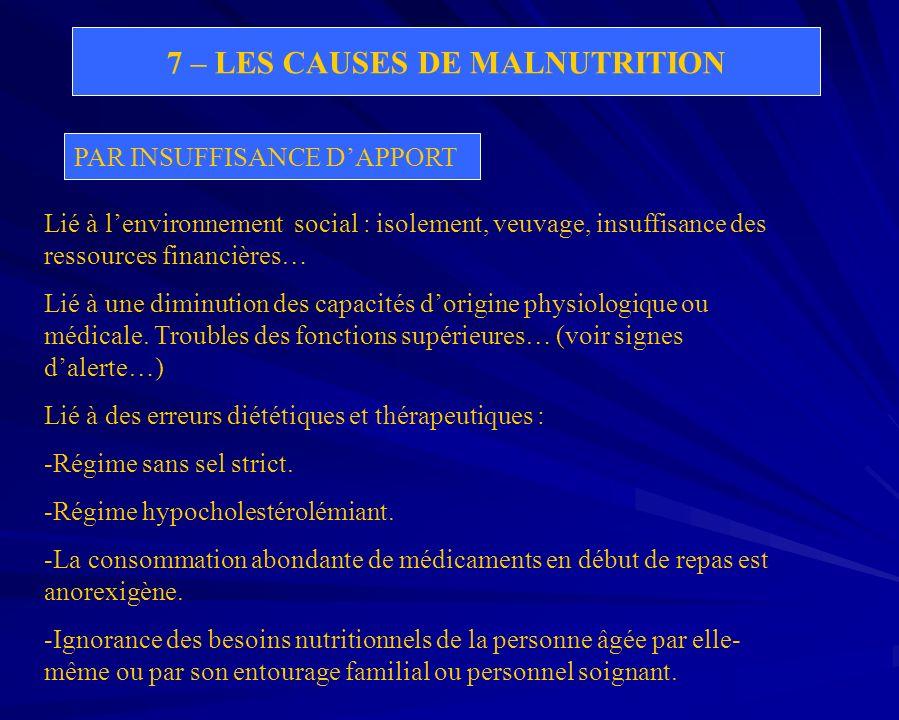 7 – LES CAUSES DE MALNUTRITION