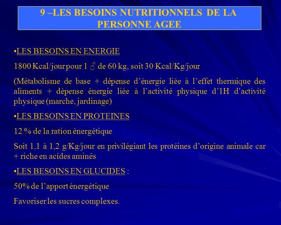 9 –LES BESOINS NUTRITIONNELS DE LA