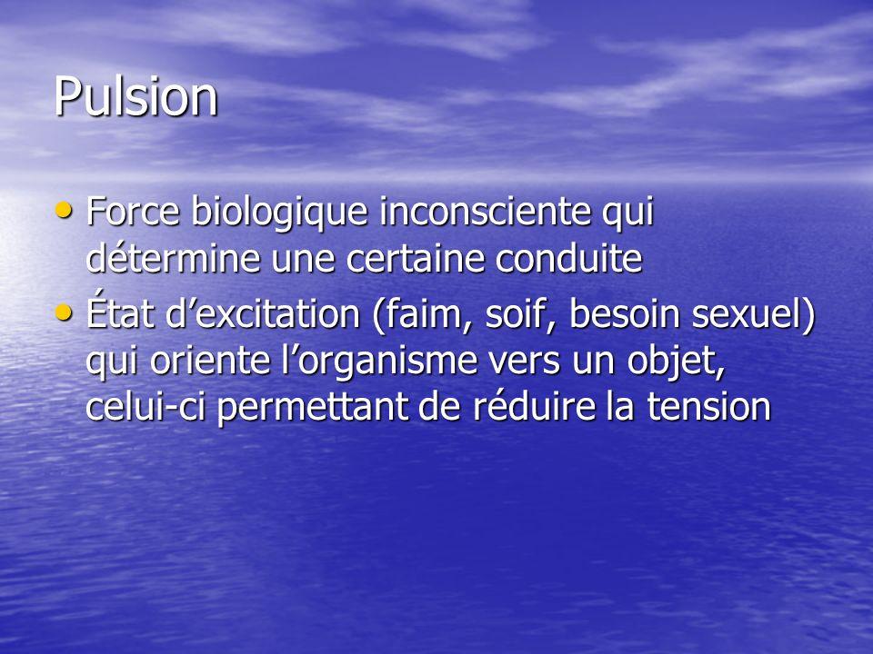 PulsionForce biologique inconsciente qui détermine une certaine conduite.