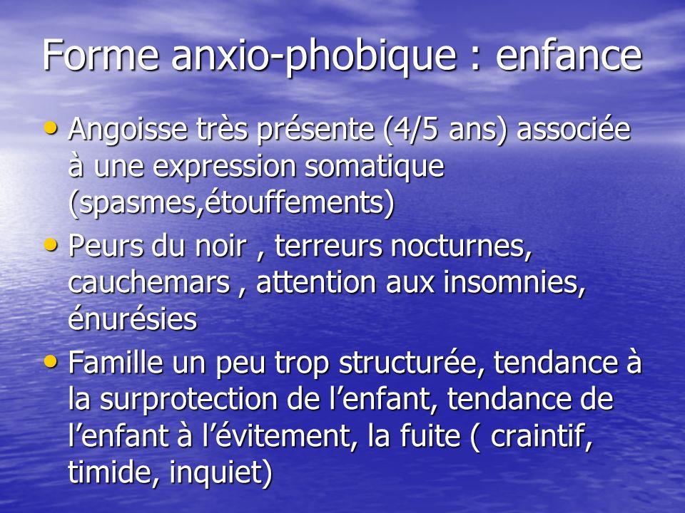 Forme anxio-phobique : enfance