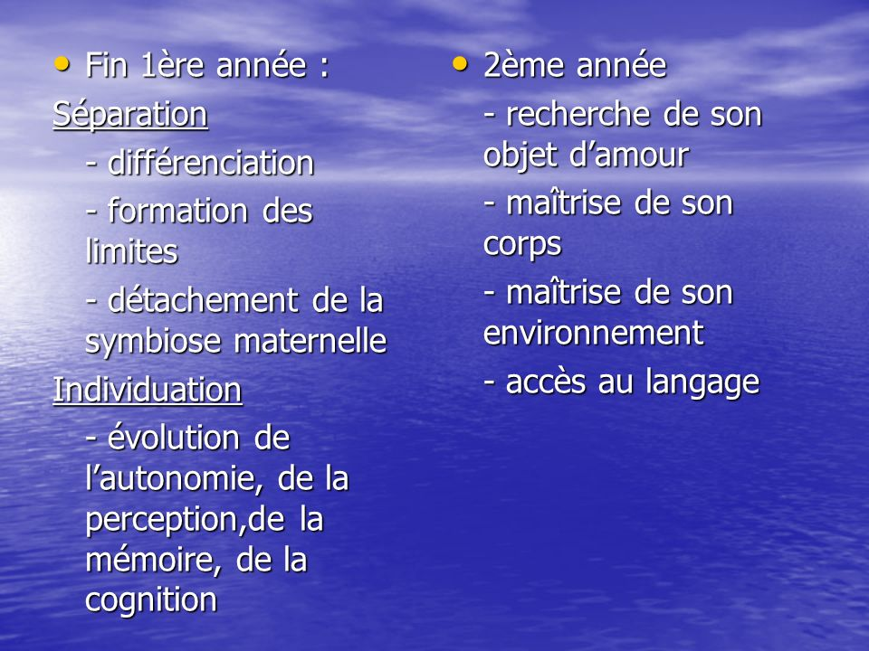 Fin 1ère année :Séparation. - différenciation. - formation des limites. - détachement de la symbiose maternelle.