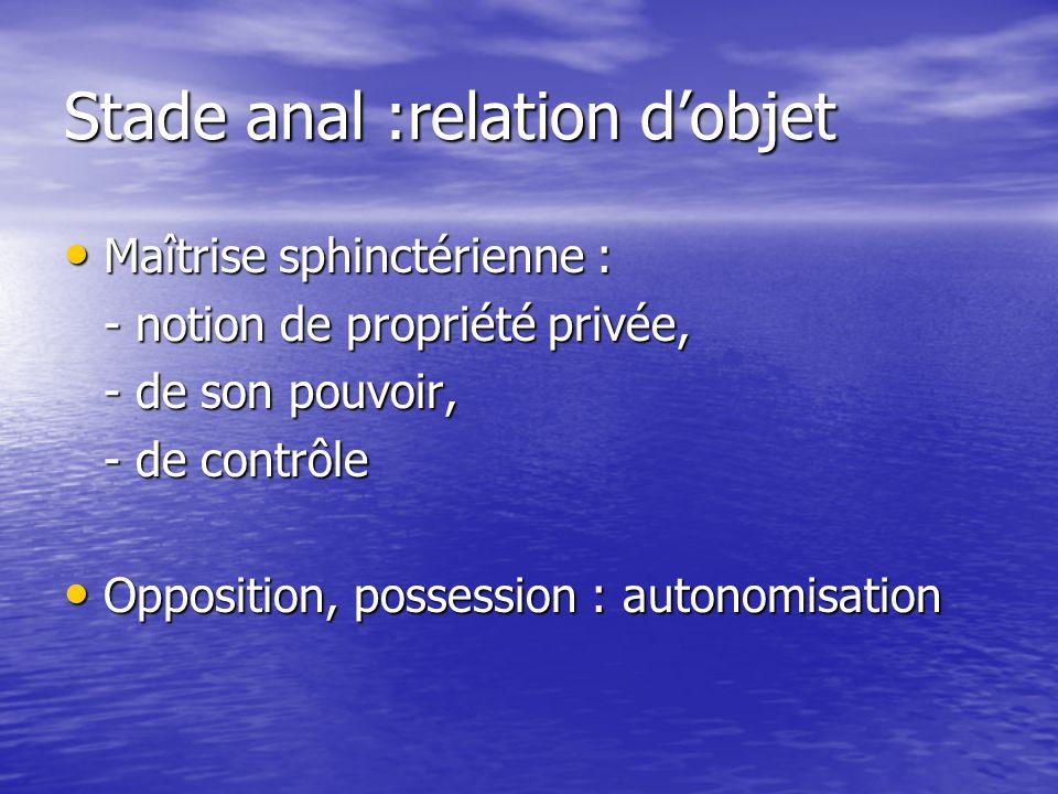 Stade anal :relation d'objet