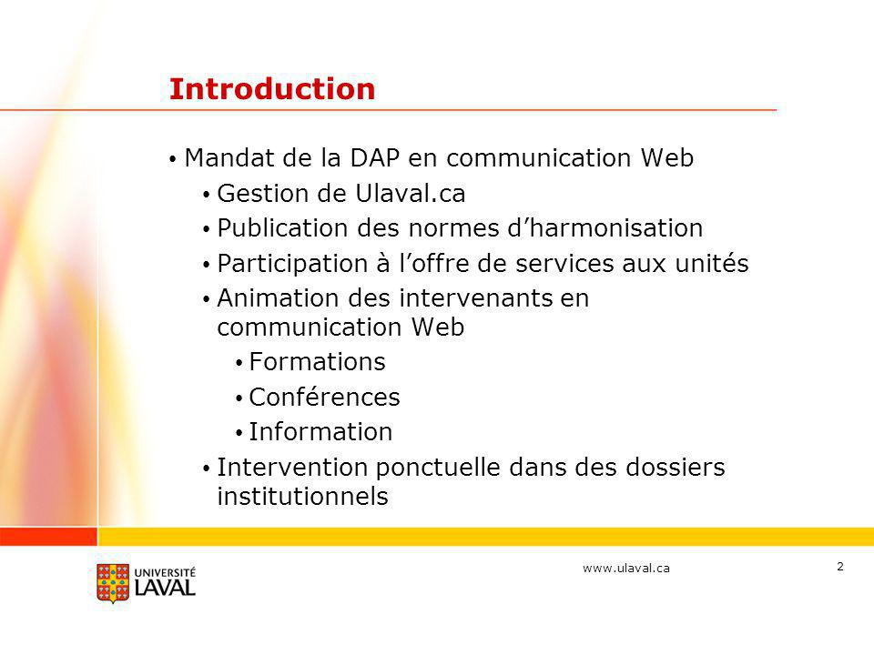 Introduction Mandat de la DAP en communication Web