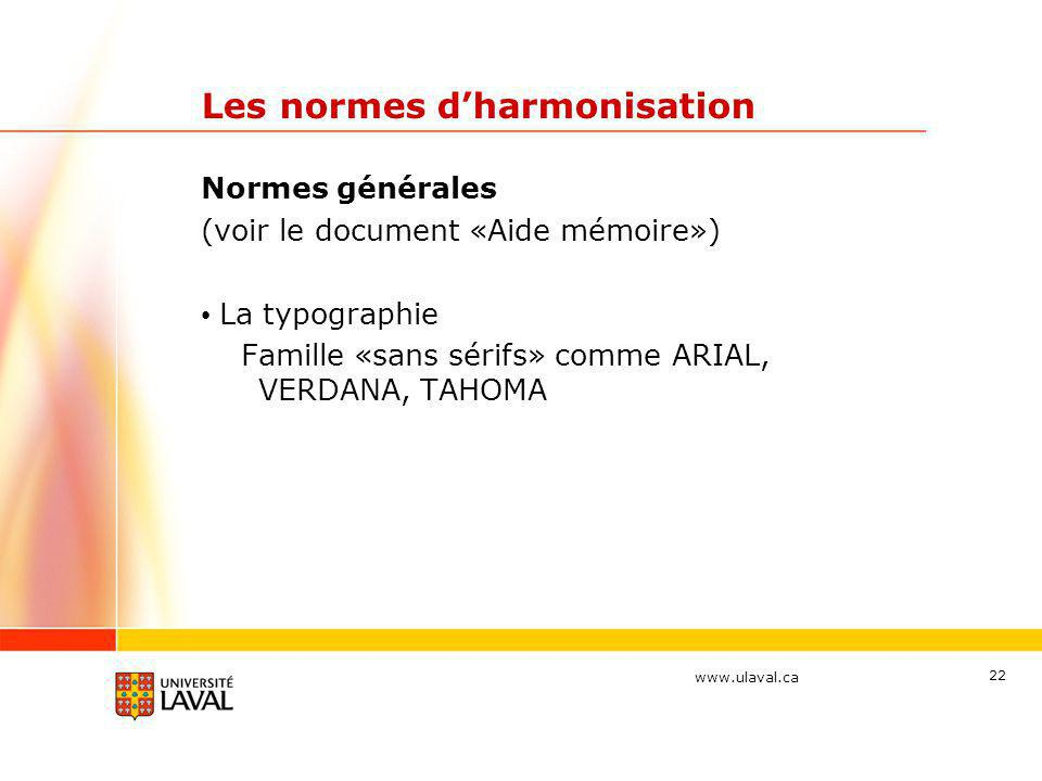Les normes d'harmonisation