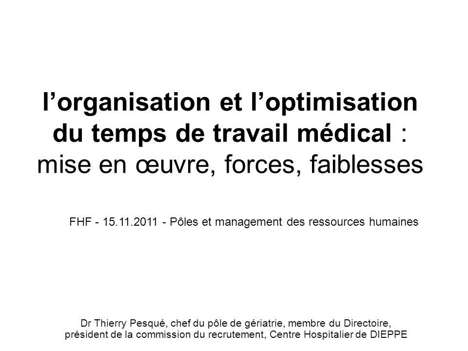 l'organisation et l'optimisation du temps de travail médical : mise en œuvre, forces, faiblesses