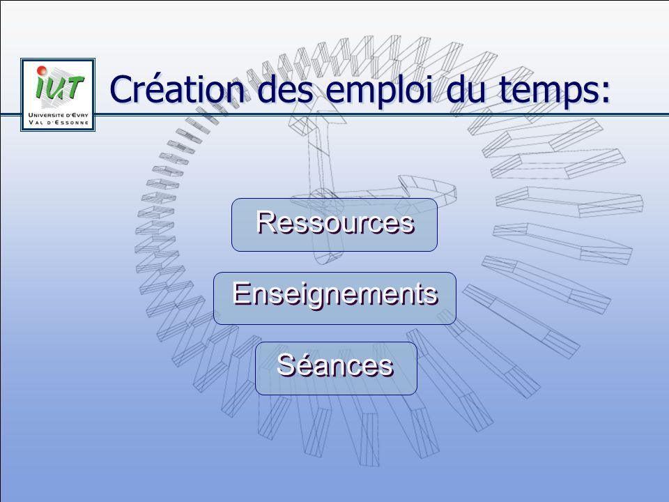 Création des emploi du temps: