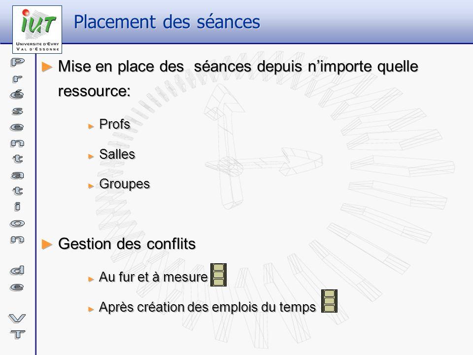 Placement des séances Mise en place des séances depuis n'importe quelle ressource: Profs. Salles.