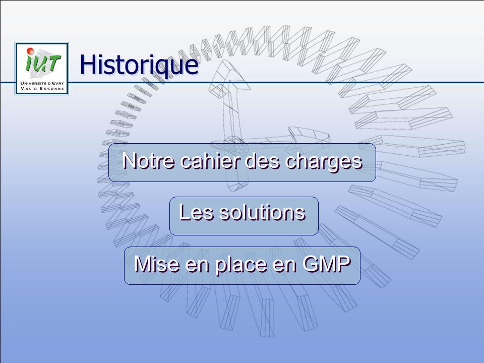 Notre cahier des charges Les solutions Mise en place en GMP