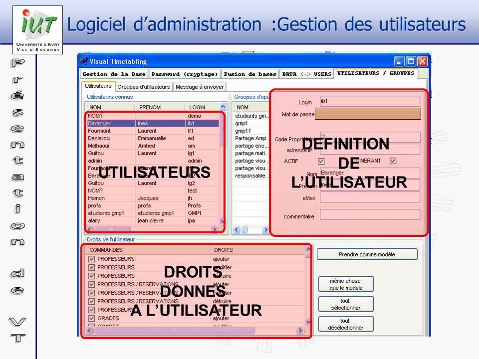 Logiciel d'administration :Gestion des utilisateurs