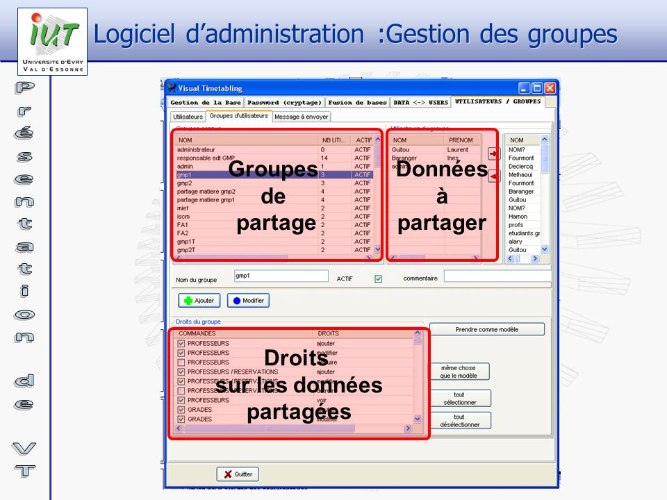 Logiciel d'administration :Gestion des groupes