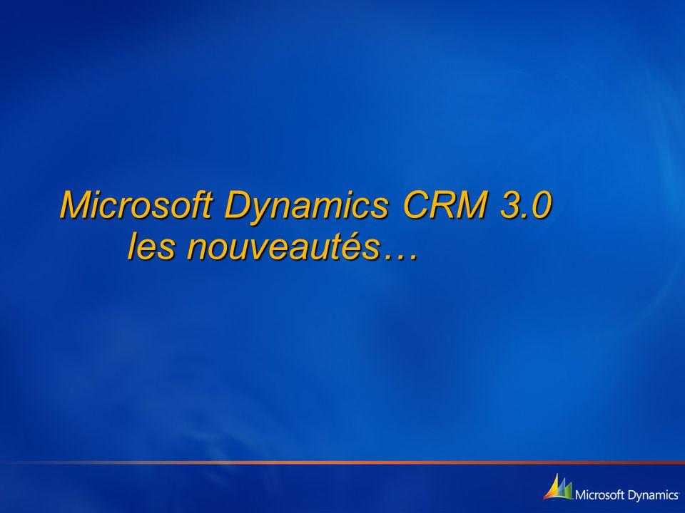 Microsoft Dynamics CRM 3.0 les nouveautés…