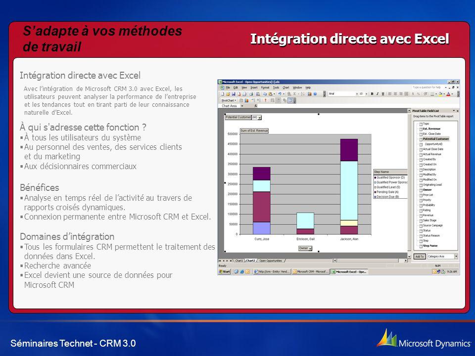 S'adapte à vos méthodes de travail Intégration directe avec Excel