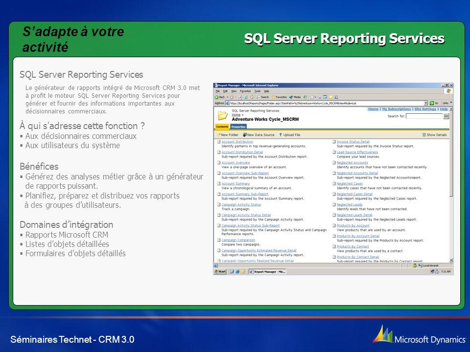 S'adapte à votre activité SQL Server Reporting Services