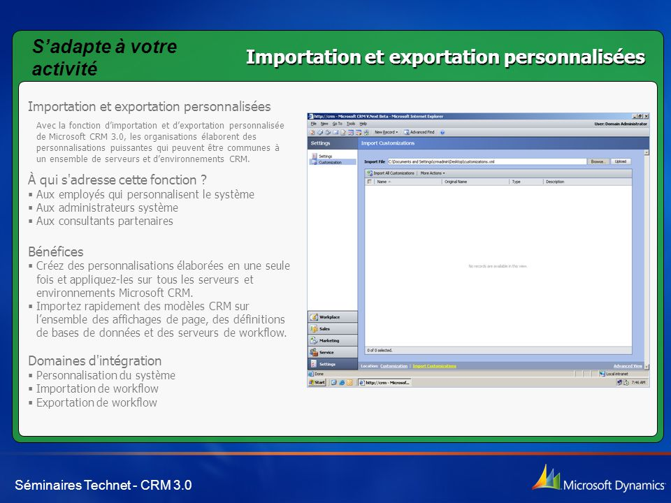 S'adapte à votre activité Importation et exportation personnalisées