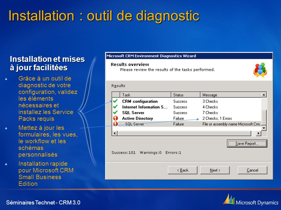 Installation : outil de diagnostic