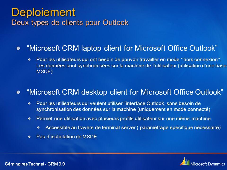 Deploiement Deux types de clients pour Outlook