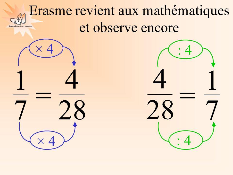 Erasme revient aux mathématiques et observe encore