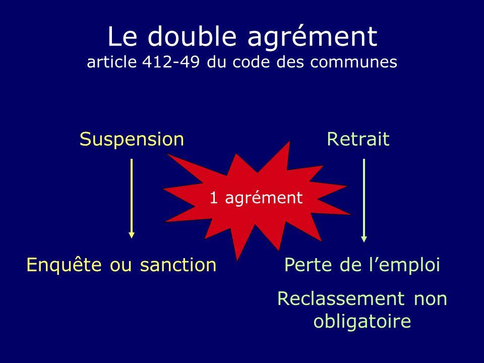 Le double agrément article 412-49 du code des communes