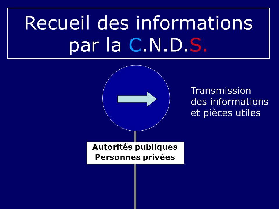 Recueil des informations par la C.N.D.S.