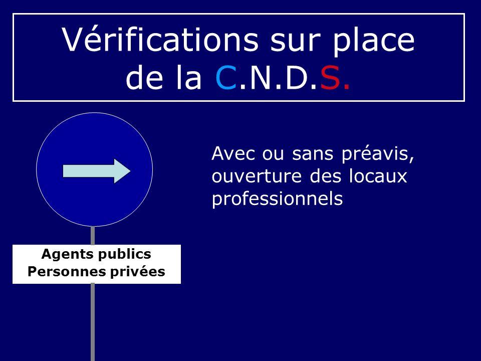 Vérifications sur place de la C.N.D.S.